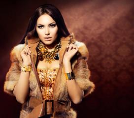 Wall Mural - Beauty Fashion Model Girl in Fox Fur Coat