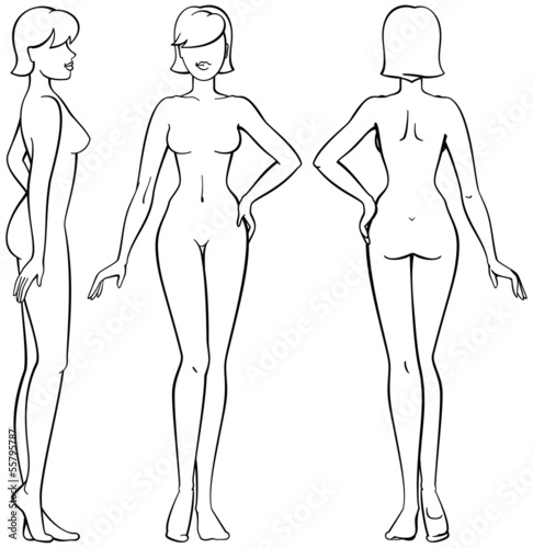 woman body - front, back and side view in outline\