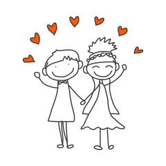 hand drawing cartoon happy couple