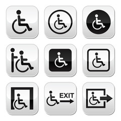 Man on wheelchair, disabled, emergency exit buttons set