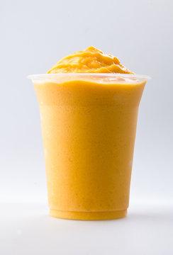 mango yogurt, milk shake isolated on white