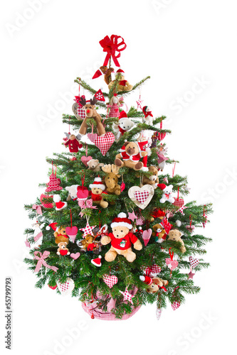 weihnachtsbaum isoliert in rot geschm ckt mit teddyb ren stockfotos und lizenzfreie bilder auf. Black Bedroom Furniture Sets. Home Design Ideas