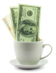 Money in a cup