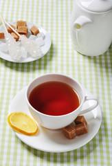 Cup with tea and lemon