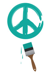 Paintbrush painting green peace sign