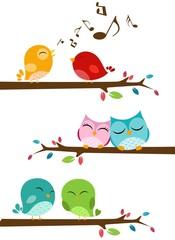 Canvas Prints Owls cartoon Birds singing on the branch