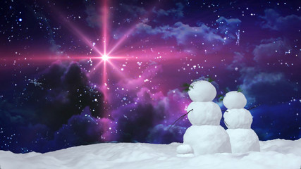 Christmas snowmen love star