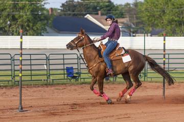 Pole Bender - Western Woman Horseback Rider