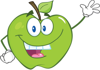 Green Apple Cartoon Mascot Character Waving For Greeting