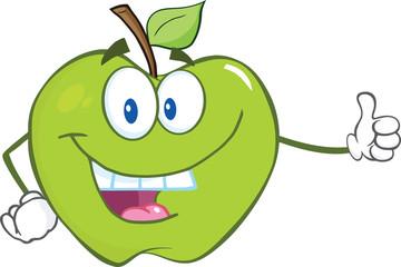 Smiling Green Apple Cartoon Mascot Character Holding A Thumb Up