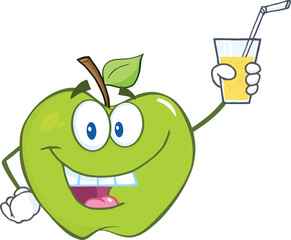 Smiling Green Apple Cartoon Character Holding A Glass With Drink