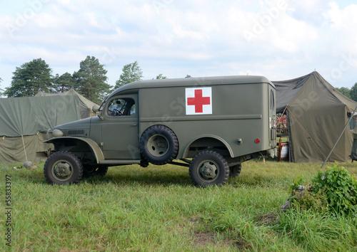 Wall mural World War II era ambulance