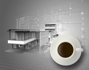 3d coffee cup on engineer blue print