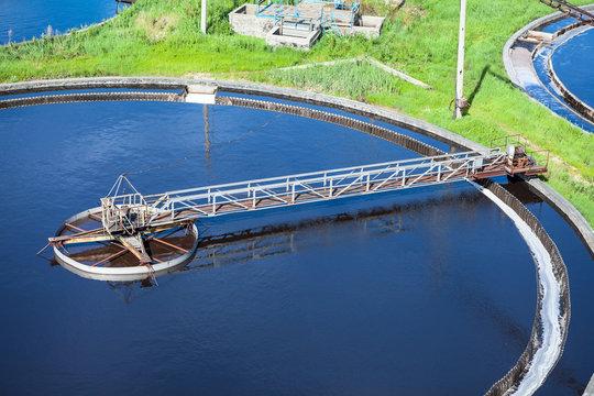 Primary sedimentation basin, sewage flowing through large tanks