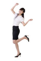 Dancing business woman