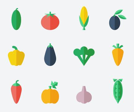 Vegetables set- flat design