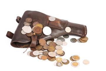 Gun and coins.