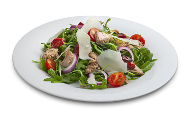 Healthy tuna salad with vegetables and parmesan