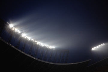 Stadium floodlights at night time, Beijing, China