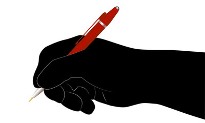 Silhouette of a hand with a red a fountain pen