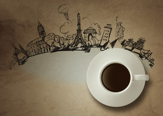 3d cup of coffee traveling around the world as vintage style