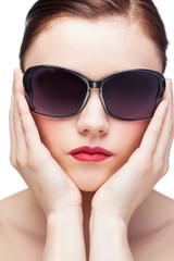 Sexy model wearing stylish sunglasses