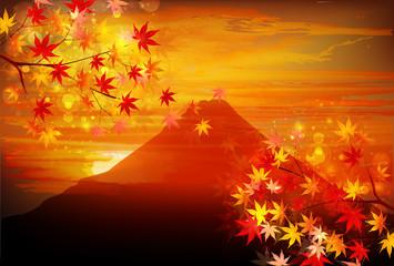 富士山 赤富士 もみじ 背景