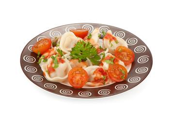 pelmeni. Traditional Russian cuisine