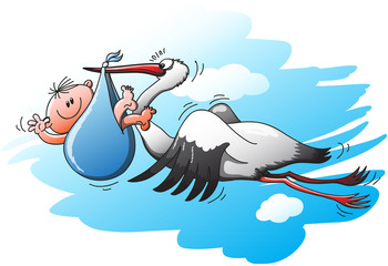 Nice stork flying to deliver a little kid in a blue bag