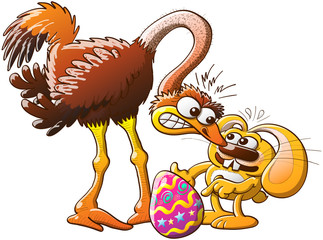 Easter bunny facing a mad ostrich after stealing her egg