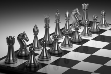 A set of chess pieces on a chess board. Chess game