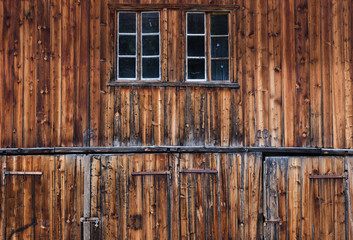 Detail of old and weathered barn doors