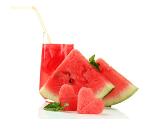 Fresh watermelon and glass of watermelon juice isolated on