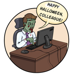 Halloween card: Office zombie wishes a happy Halloween
