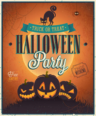 Wall Mural - Happy Halloween Poster. Vector illustration.