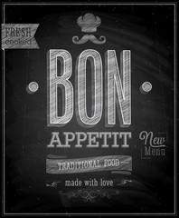 Wall Mural - Vintage Bon Appetit Poster - Chalkboard. Vector illustration.