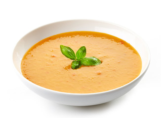 bowl of squash soup with basil