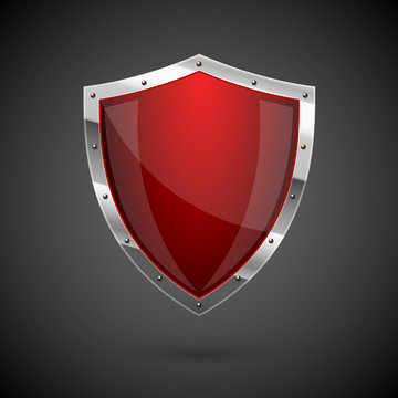 Red shield icon - eps10