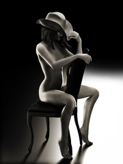 Sexy woman sitting on a chair wearing a cowboy hat