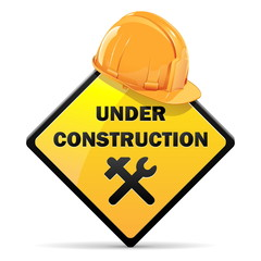Vector Under Construction Sign with Helmet
