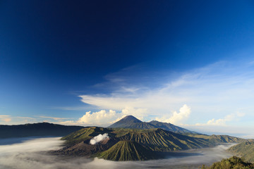 Bromo Mountain in Tengger Semeru National Park at sunrise, East