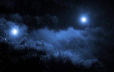 Space background with big blue nebula.