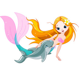 Deurstickers Zeemeermin Cute Mermaid and dolphin