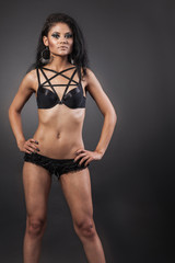 Sexy woman body. Erotic underwear.