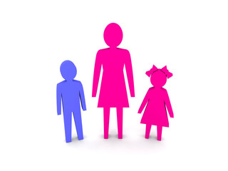 Woman with children. Single-parent family.