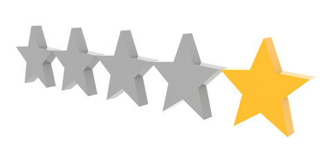 One star rating. Concept 3D illustration.