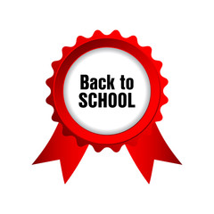 back to school badge with red ribbons