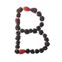 The letter B made up of blackberries