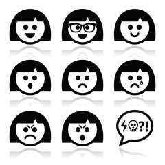 Smiley girl or woman faces, avatar vector icons set