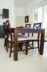 Dining table in kitchen room